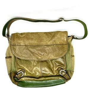 Fossil Olive Green Leather Canvas Messenger Bag